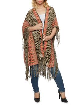Plus Size Open Long Cardigan with Fringe - 3920038346266