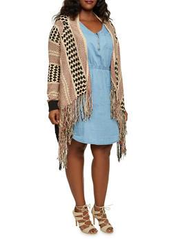 Plus Size Striped Cardigan with Fringe Hem - 3920038346271