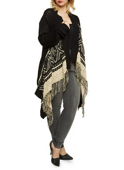 Plus Size Patterned Cardigan with Fringe Trim - 3920038346274