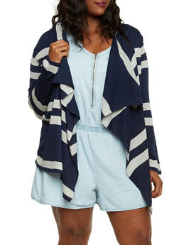 Plus Size Striped Cardigan with Asymmetrical Front - 3920038346429