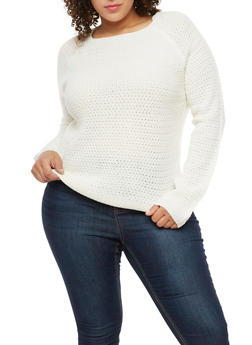 Plus Size Crew Neck Knit Sweater - 3920038347108