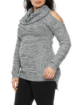 Plus Size Cold Shoulder Cowl Neck Sweater - 3920038347111