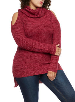 Plus Size Cold Shoulder Cowl Neck Sweater - 3920038347111