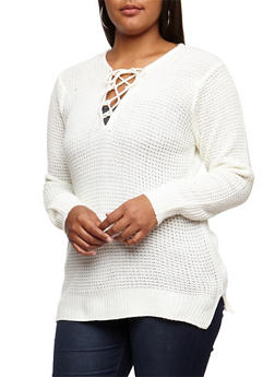 Plus Size Knitted Lace Up Sweater - IVORY - 3920038347113