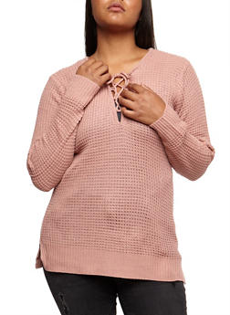 Plus Size Knitted Lace Up Sweater - 3920038347113