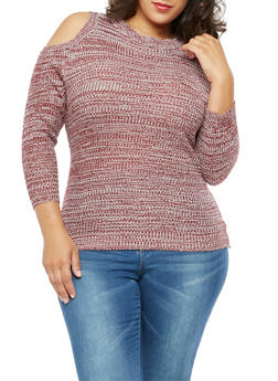 Plus Size Long Sleeve Cold Shoulder Sweater - 3920038347114