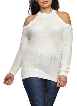 Plus Size Cold Shoulder Knit Sweater - 3920038347117
