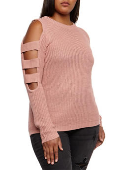 Plus Size Caged Sleeves Sweater - 3920038347121