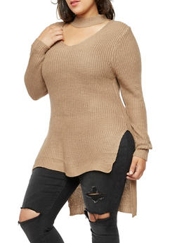 Plus Size Long Sleeve Choker Neck High Low Sweater - 3920038347122