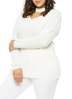 Plus Size Long Sleeve Choker Neck Sweater - IVORY - 3920038347123