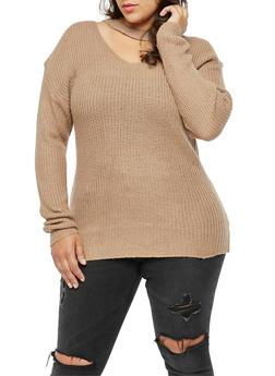 Plus Size Long Sleeve Choker Neck Sweater - 3920038347123