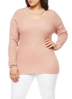 Plus Size Long Sleeve Choker Neck Sweater - 3920038347123