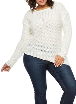 Plus Size Asymmetrical Knit Sweater - 3920038347125