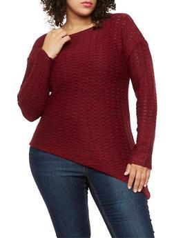 Plus Size Asymmetrical Knit Sweater - 3920038347125