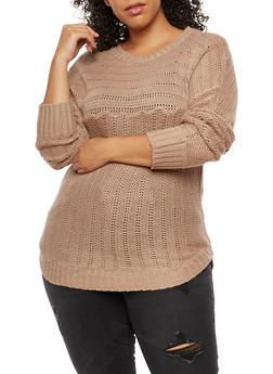 Plus Size Crew Neck Sweater - 3920038347127