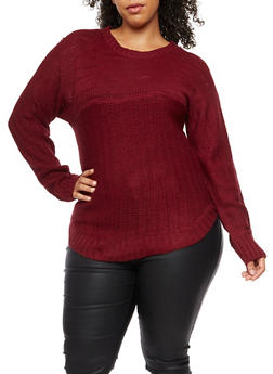 Plus Size Crew Neck Sweater - 3920038347127