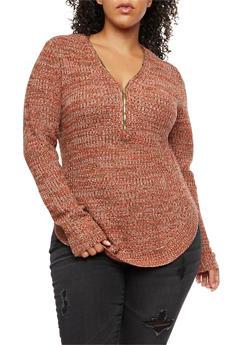 Marled Knit Zip Neck Sweater - 3920038347133