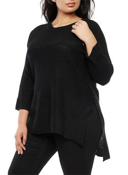Plus Size High Low Knit Sweater - 3920038347138