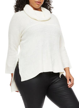 Plus Size Cowl Neck Sweater - IVORY - 3920038347139