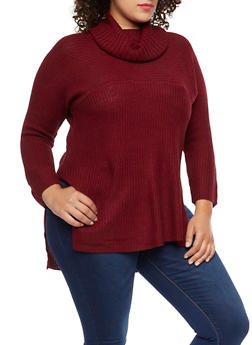 Plus Size Cowl Neck Sweater - 3920038347139