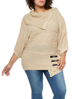 Plus Size Button Neck Sweater with Belted Hem Detail - 3920038347140