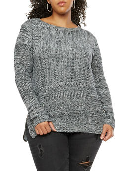 Plus Size Knit Sweater - 3920038347141
