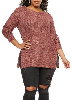 Plus Size Knit Sweater - 3920038347141