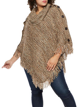 Plus Size Multi Color Button Fringe Poncho - BROWN - 3920038347181