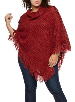 Plus Size Multi Color Button Fringe Poncho - BURGUNDY - 3920038347181