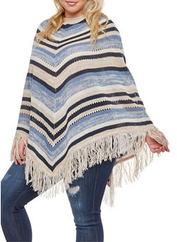 Plus Size Striped Fringe Poncho - BLUE - 3920038347186