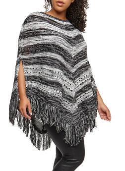 Plus Size Striped Fringe Poncho - 3920038347189
