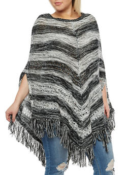 Plus Size Striped Fringe Poncho - 3920038347189