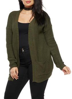 Plus Size Open Front Pocket Knit Cardigan - OLIVE - 3920038347205