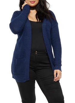 Plus Size Solid Knit Cardigan - 3920038347205