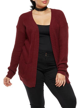 Plus Size Open Front Pocket Knit Cardigan - 3920038347205