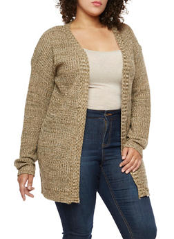 Plus Size Marled Knit Cardigan - 3920038347207