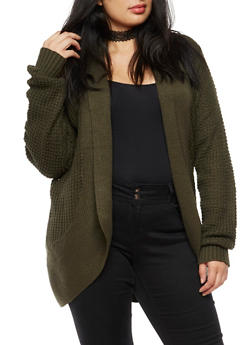 Plus Size Solid Knit Cocoon Cardigan - OLIVE - 3920038347208