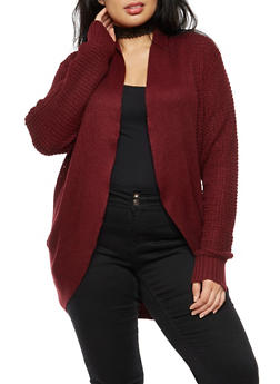 Plus Size Solid Knit Cocoon Cardigan - 3920038347208