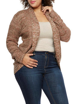 Plus Size Knit Cocoon Cardigan - 3920038347209