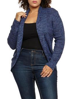 Plus Size Knit Cocoon Cardigan - 3920038347209