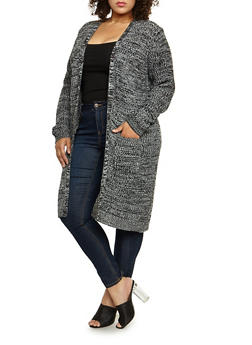 Plus Size Heavy Knit Duster - 3920038347211