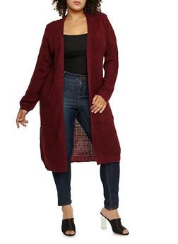 Plus Size Heavy Knit Duster - 3920038347211