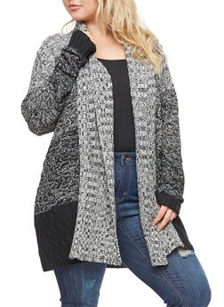 Plus Size Marled Shawl Collar Cardigan - 3920038347214
