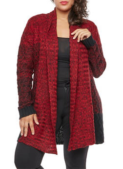 Plus Size Marled Shawl Collar Cardigan - 3920038347214