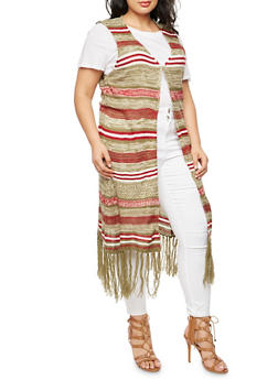 Plus Size Striped Fringe Sweater - OLIVE - 3920038347215