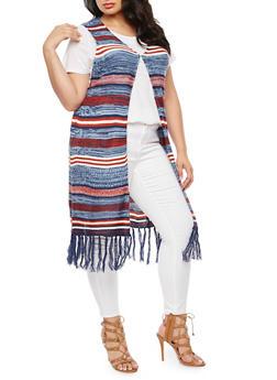 Plus Size Striped Fringe Sweater - BLUE - 3920038347215