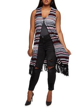 Plus Size Striped Fringe Sweater - 3920038347215