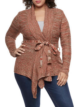 Plus Size Marled Knit Cardigan - 3920038347229
