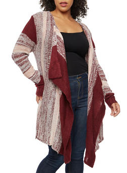 Plus Size Striped Marled Knit Cardigan - 3920038347230