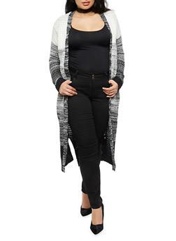 Plus Size Marled Long Cardigan - BLACK - 3920038347231